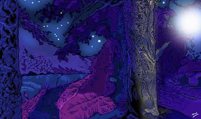 Moonlit Night Drawing - Water Of Leith Edinburgh by Grant  Wilson