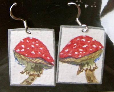 Artisan Jewelry Jewelry - Watercolor Earrings Amanita by Beverley Harper Tinsley