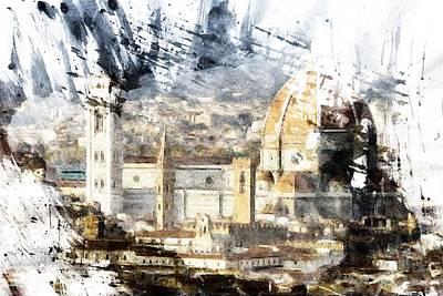 Toscana Digital Art - Watercolor Florence by Andrea Barbieri