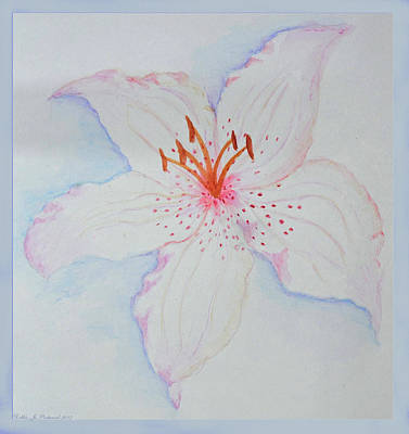 Painting - Watercolor Lily With Border by Debbie Portwood
