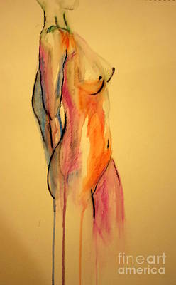 Nude Woman Torso Painting - Watercolor Nude by Julie Lueders