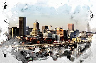 Watercolor Of Downtown Portland Art Print by Cathie Tyler