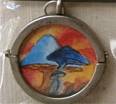 Hand Painted Pendant Jewelry - Watercolor Pendant Passion And Three Blue Mushrooms Side 2 by Beverley Harper Tinsley