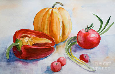 Paprika Painting - Watercolor Vegetables by Regina Jershova