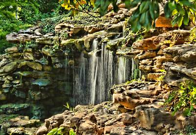 Photograph - Waterfall - Japanese Gardens Hdr by Lynnette Johns