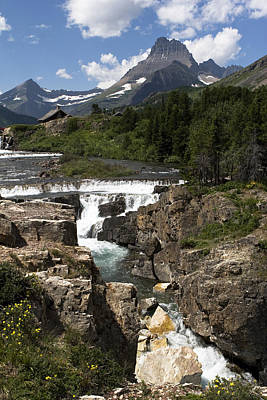 Photograph - Waterfall At Many Glacier by Lorraine Devon Wilke