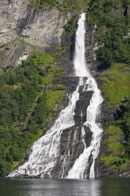 Norwegian Waterfall Photograph - Waterfall In A Fjord, Norway by Dr Juerg Alean