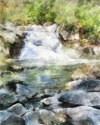 Digital Art - Waterfall In Nc by Francesa Miller