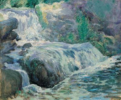 Northeast Painting - Waterfall by John Henry Twachman