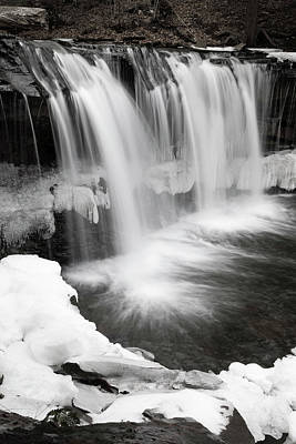 Photograph - Waterfall Mid Winter Thaw by John Stephens