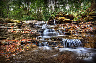 Waterfall On Small Creek Going Into The Big Sandy River Art Print by Dan Friend