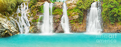 Natural Pool Photograph - Waterfall Panorama by MotHaiBaPhoto Prints