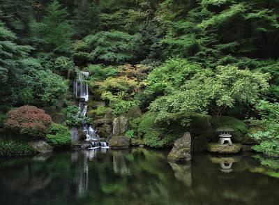 Waterfall - Portland Japanese Garden - Oregon Art Print by Daniel Hagerman
