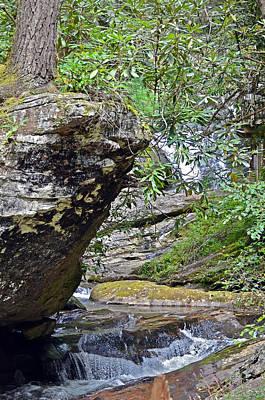 Waterfall Rock Art Print by Susan Leggett