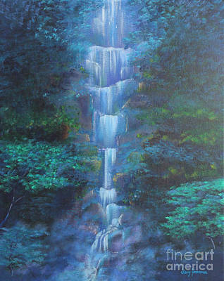 Print featuring the painting Waterfall Symphony by Stacey Zimmerman