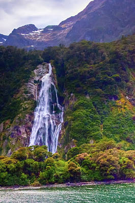 Photograph - Waterfalls At Milford Sound by Harry Strharsky