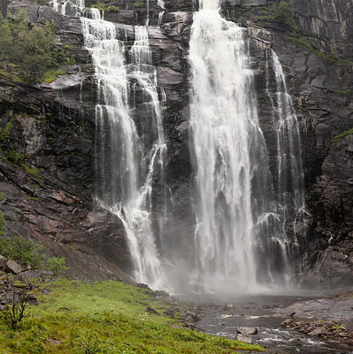 Waterfalls Over A Cliff Norway Art Print by Keith Levit