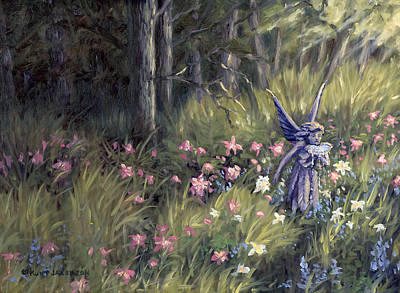 Art Print featuring the painting Watering The Flowers by Kurt Jacobson
