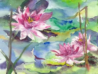 Waterliles Painting - Waterliles by Cindy Spencer