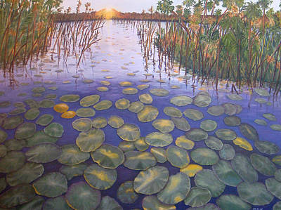 Art Print featuring the painting Waterlillies South Africa by Karen Zuk Rosenblatt