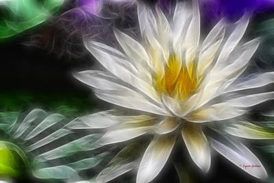Art Print featuring the digital art Waterlily In Pseudo-fractal by Lynne Jenkins
