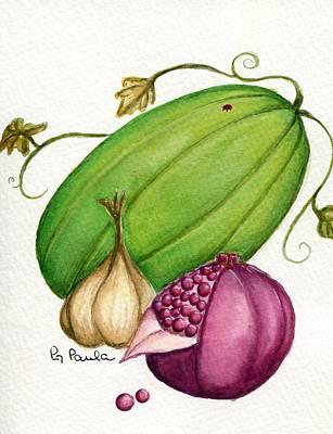 Watermelon Tart Art Print by Paula Greenlee