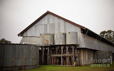 Watertanks And Shed Art Print by Therese Alcorn