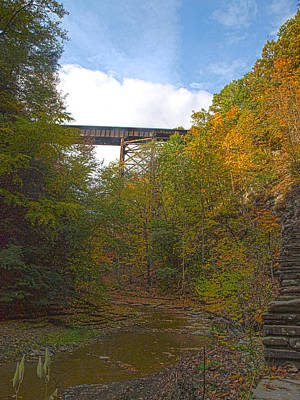 Photograph - Watkins Glen Rail Bridge by Joshua House