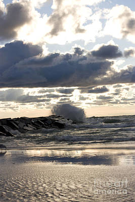 Wave Crashing Into Jetty On Lake Michigan Art Print by Christopher Purcell
