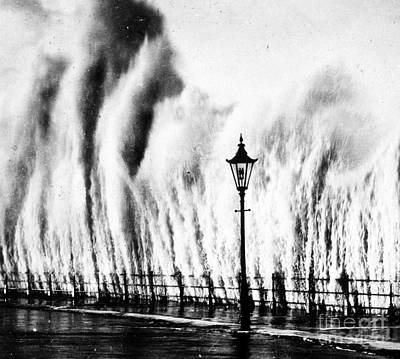 Waves Smashing Seawall, 1938 Art Print