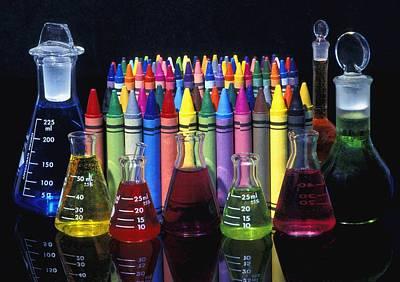 Wax Crayons And Measuring Flasks Art Print by David Chapman