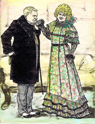 W.c.fields And Jan Art Print by Mel Thompson