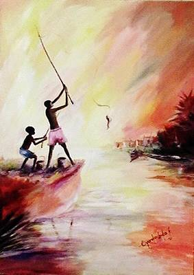Art Print featuring the painting We Fished by Oyoroko Ken ochuko