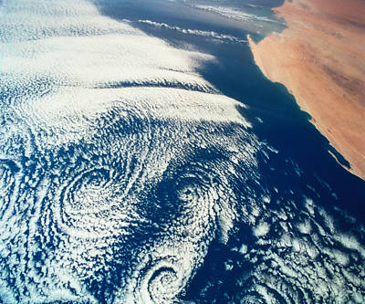 Weather Systems Above The Earth Viewed From Space Art Print by Stockbyte