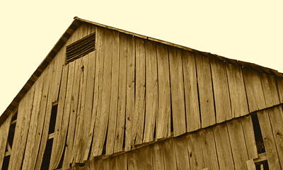 Photograph - Weathered Barn II In Sepia by JD Grimes