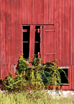 Photograph - Weathered Broken Red Barn Window Of New Jersey by David Letts