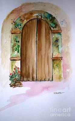 Door Painting - Weathered Door Of Greece by Therese Alcorn