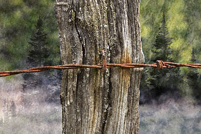 Photograph - Weathered Fence Post Barbed Wire Scenic by John Stephens