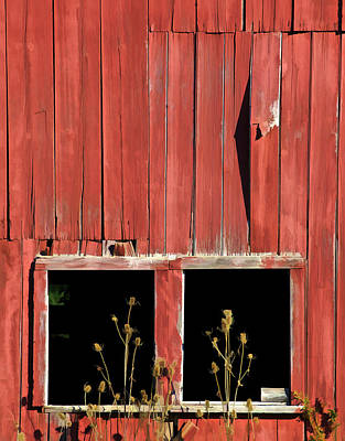 Photograph - Weathered Red Barn Windows Of New Jersey by David Letts