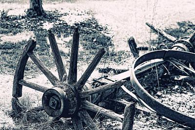 Weathered Wagon Wheel Broken Down Art Print