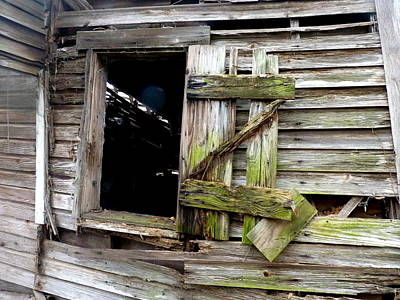 Photograph - Weathered Wood Window by Carla Parris