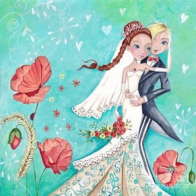 Big Eyed Girl Painting - Wedding Day by Caroline Bonne-Muller