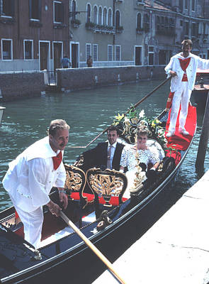 Canal Photograph - Wedding Party In Gondola Venice by Tom Wurl