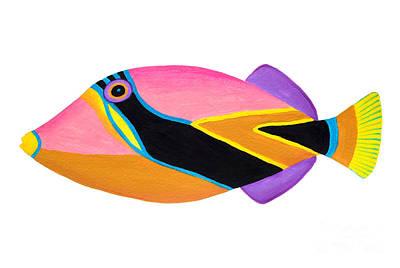 Triggerfish Painting - Wedge Tail Triggerfish  by Opas Chotiphantawanon