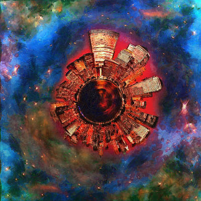 Digital Art - Wee Manhattan Planet - Artist Rendition by Nikki Marie Smith