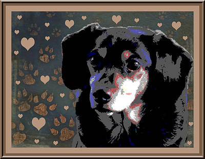 Dachshund Puppy Digital Art - Wee With Love by One Rude Dawg Orcutt