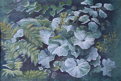Art Print featuring the painting Weeping Ladies Mantle by Patsy Sharpe