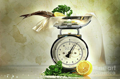 Weight Scale With Fish  Art Print by Sandra Cunningham