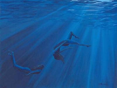 Yoga Pose Painting - Weightless Waters by Jackie Novak