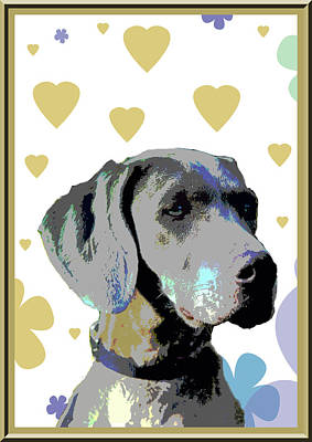 Puppies Digital Art - Weimaraner by One Rude Dawg Orcutt